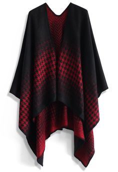 Lightning Houndstooth Blanket Cape in Red - New Arrivals - Retro, Indie and Unique Fashion