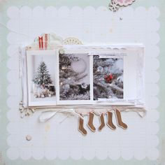 white / cream Christmas page. #scrapbooking #layout #Christmas