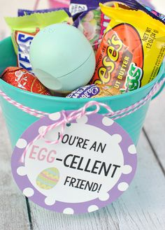 Egg-Cellent Gift Idea for a Friend at Easter Time by Amber  thought a fun Easter gift idea would be fun for this month. Do me a favor? Make this for someone, because you know they are going to love it! Here's an Egg-Cellent idea for a gift for your friend! 3 Tags available for Friend, Teacher, and Birthday