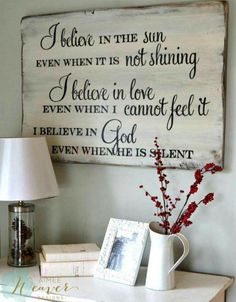 35 ideas for barn wood signs faith I Believe In Love, Pallet Signs, Pallet Art, Diy Signs, God Is Good, Christian Quotes, Christian Signs, Christian Motivation, Christian Decor