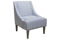 Quinn Swoop-Arm Cotton Chair, Navy Dots
