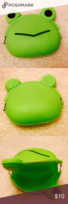 Whimsical Frog Coin Purse Cute silicone frog with widemouth opening kisslock closure and metal hinges. For the kid in us all. Please ask if you have questions. Bags