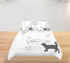 Black and white cats Duvet Cover Personalized King Queen by Narais