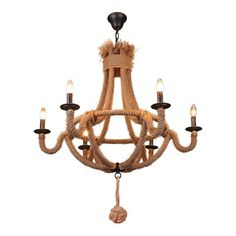 LNC 6-Light Vintage Chandelier with Hemp Rope,Matte Black