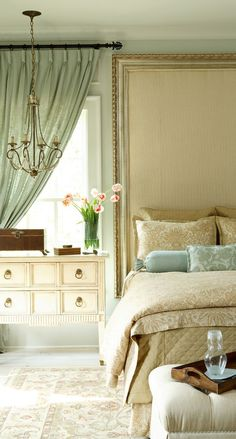 Elegant bedroom design.....  I like this   side table. Hadn't thought of using a dresser like this for a side table in the   bedroom