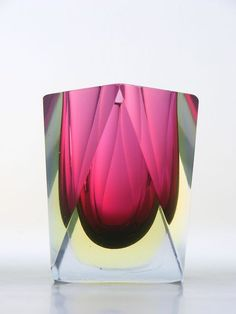 Murano sommerso cranberry and vaseline faceted glass vase