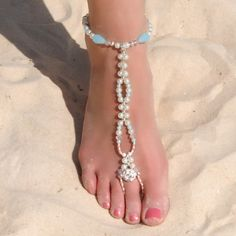 Really pretty! barefoot wedding sandal. Perfect for the beach too.
