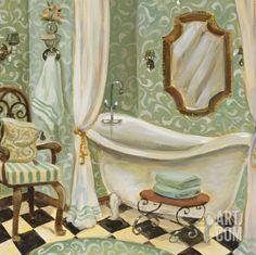 Art Print: Designer Bath I by Karen Dupré : Bath Art, Bathroom Art, Bathrooms, Bathroom Ideas, Painting Edges, Bath Design, Stretched Canvas Prints, Find Art, Framed Artwork