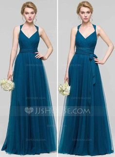 [US$ 96.69] A-Line/Princess V-neck Floor-Length Tulle Bridesmaid Dress With Ruffle Bow(s) (007090175)