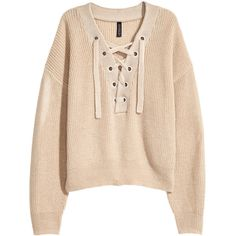 H&M Knit Sweater with Lacing $19.99 ($20) ❤ liked on Polyvore featuring tops, sweaters, lace up long sleeve top, h&m sweaters, v-neck sweater, v neck knit sweater and lace up front sweater