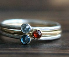 Birthstone Stacking Ring 3 Set- Hammered Recycled S.Silver and 14K Gold Filled Rings w Genuine Topaz, Garnet,  Aquamarine By Pale Fish NY on Etsy, $131.00