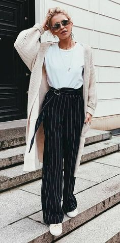 what to wear with a cardigan : white top + pants + sneakers