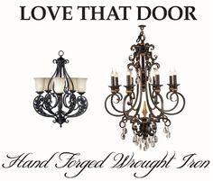 Elegant wrought iron light fixtures and chandeliers