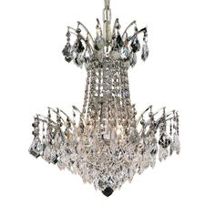 "Victoria 16"" Crystal Mini Chandelier with 4 Lights - Chrome Finish and Swarovski Elements Crystal"