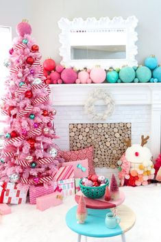 A Kailo Chic Life - Kailo Chic - DIY your way to a colorful life! : A Kailo Chic Life: Our Merry and Bright Christmas Traditions - pink flicked tree - peppermint themed Christmas tree - giant ornament decorations Candy Land Christmas, Pink Christmas Tree, Whimsical Christmas, Christmas Tree Themes, Noel Christmas, Christmas Traditions, Creative Christmas Trees, Christmas Mantles, Tropical Christmas