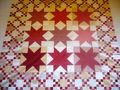 "Nantucket Stars - WIP (54"" square) by freidasew, via Flickr  yumminess in RED"