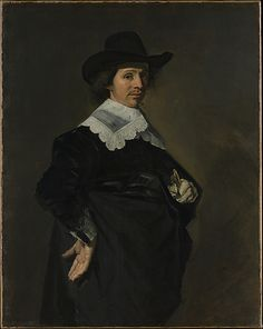 """Paulus Verschuur"" by Frans Hals (1643) at the Metropolitan Museum of Art, New York - From the curators' comments: ""Paulus Verschuur served seven terms as burgomaster of Rotterdam and was also a director of the East India Company. Despite Hals's reputation for conviviality, his mature portraits are often sober and restrained in all but their brushwork."""