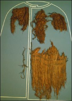 GRASS CAPE: The Iceman's cape was made of 1m long stalks of plaited/braided reed-like Alpine grass. The original length is thought to have been about 90cm and would have covered the his entire torso and his thighs and was open in front and may have had slits for his arms, but no evidence remained for this.