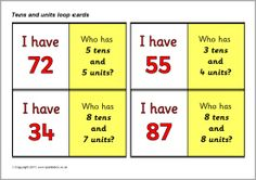 Tens and units/ones place value loop cards (SB5032) - SparkleBox