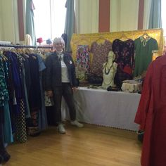 It's a double denim day! 1960's neck scarf, 1970's White polo neck, 1980's Levi jacket. With Rose & Brown vintage home and fashion fair, in the beautiful Victoria Hall, Saltaire.