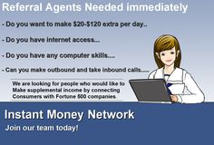 Referal Agents wanted.... Free to join, get paid daily... Training and resources included... Earn $20 per refer plus get paid from your downline... http://www.ibourl.net/ReachingTowardsSuccess