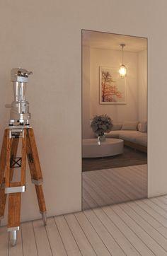 Porta Raso Muro con specchio esterno e m. Door Design, House Design, Mirror Door, My Room, Glass Door, House Colors, Sweet Home, Interior Design, Interior Modern