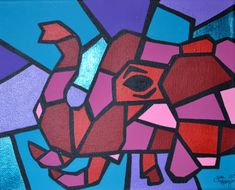 Colorful Cubism Elephant ACEO Picasso Pets Series by ToniTiger415
