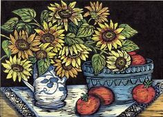 The splendid woodcuts of Mary Azarian:  Sunflowers and Tomatoes