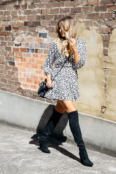 Printed dress + over the knee high boots // TheyAllHateUs | Page 2