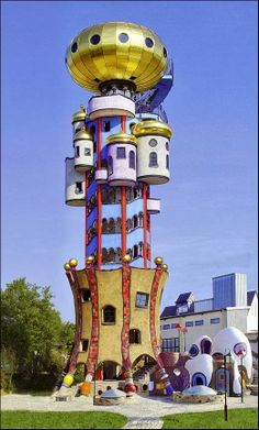 The Hundertwasser Turm in Abensberg....Kuchlbauer Tower is an observation tower designed by Austrian architect Friedensreich Hundertwasser on the grounds of the Kuchlbauer Brewery in Abensberg a town in Lower Bavaria in Germany.