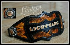 Custom bronc noseband, black leather/patent leather snakeskin print. Antique silver conchos/swarovski crystals