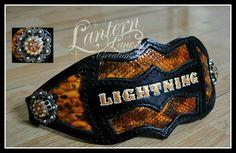 Custom bronc noseband, black leather/patent leather snakeskin print. Antique silver conchos/swarovski crystals