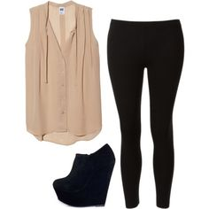 Booties, leggings and a baggy blouse :)