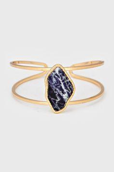 Stone Cuff Bracelet - loving gold these days