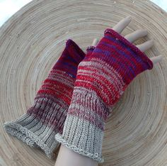 Knitted cotton fingerless gloves knit by peonijahandmadeshop