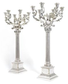 A pair of magnificent silver candelabra, Ovchinnikov, St Petersburg, 1892 | Lot | Sotheby's