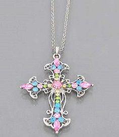 Fashion Cross Necklace Multi Colored