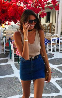 camel tank + denim skirt