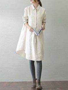 O-NEWE Vintage Lapel Pocket Shirt Dress For Women Online - NewChic Mobile