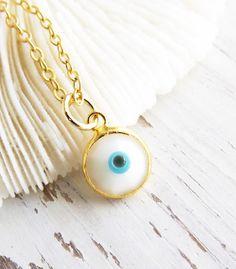 Lucky Evil Eye Necklace Trendy Jewelry Minimalist by LovGeo