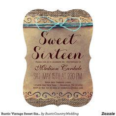 Rustic Vintage Sweet Sixteen Birthday Invitations #sweet16