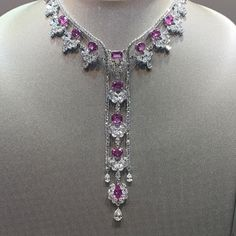 Jewelry OFF! pink sapphire and diamond necklace! Pink Necklace, Stone Necklace, India Jewelry, Fine Jewelry, Jewelry Accessories, Jewelry Design, Pink Sapphire, Necklace Designs, Antique Jewelry