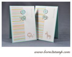 STAMPIN' UP! Babykarte mit Zoo Babies und Kleine Wünsche und SAB DSP Süße Sorbets