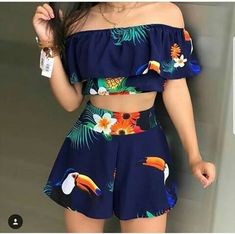 Tropical Print Top & Shorts Set - Lilly is Love Crop Top Outfits, Cute Casual Outfits, Swag Outfits, Cute Summer Outfits, Stylish Outfits, Teenage Girl Outfits, Teen Fashion Outfits, Teenager Outfits, Outfits For Teens