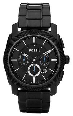 Fossil Herenhorloge 'Machine' Chronograaf FS4552. Een prachtig mooi horloge met een zeer stoer uiterlijk. Het gehele horloge is zwart utgevoerd, zelfs de wijzerplaat. De wijzerplaat is naast een 24-uurs aanduiding voorzien van een chronograaf. https://www.timefortrends.nl/horloges/fossil/heren.html