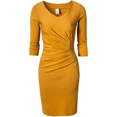 Vila Xian Dress ($14) ❤ liked on Polyvore featuring dresses, gold, vila, v neck cocktail dress, yellow pleated dress, vneck dress and yellow cocktail dress
