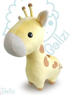 Bellzi Yellow Giraffe Cute Stuffed Animal Plush Toy - Adorable Soft Giraffe Toy Plushies and Gifts - Perfect Present for Kids, Babies, Toddlers - Giraffi Giraffe Stuffed Animal, Sewing Stuffed Animals, Cute Stuffed Animals, Cute Animals, Cute Giraffe, Cute Corgi, Cute Plush, Cute Toys, Sewing Toys