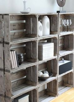 Milk crates as book case...great way to bring in a vintage element...JE