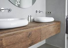 Badkamermeubel op Maat - Houtwerk Hattem Meubel- & Keukenmakerij Design Thinking, Master Bathroom, Toilet, Wall Decor, House Design, Interior Design, Home, Bathrooms, Future