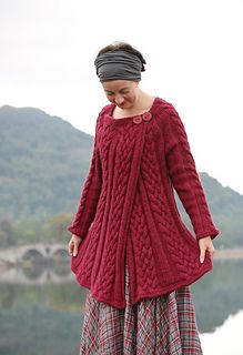 I live in the west of Scotland and developed the idea for this design across on the ferry to Islay, one of my favourite Hebridean locations. On my frequent trips there, I often find that Westering Home – Hugh Roberton's famous 1920s song – pops into in my head, and it seemed an appropriate name for this cosy cabled garment.